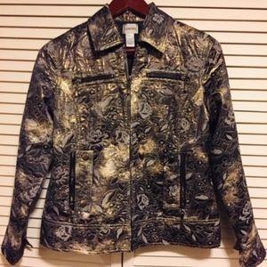Chico Patterned Metallic Zip Cropped Jacket
